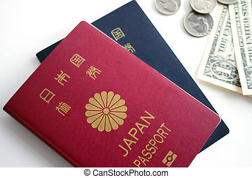 Japanese passport and coins - Japanese passport and dollar...