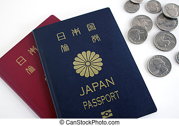 Japanese passport and coins - Japanese passport and...