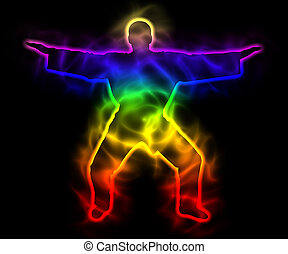 Rainbow master samurai with aura - silhouette - Illustration...