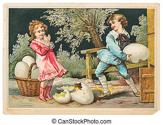 little girl and boy playing with easter eggs - AMERICA,...