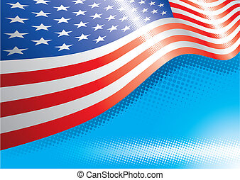 Us Flag Halftone Background - US Flag and halftone effects,...