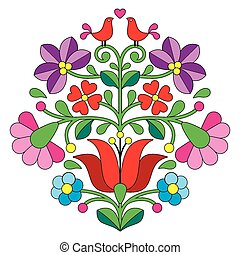 Kalocsai embroidery pattern - Vector background -...