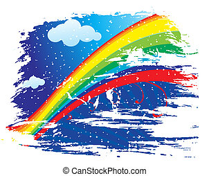 rainbow background - rainbow wave line with sample text...