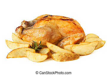 Roast chicken with Potato Wedges - Whole roast chicken...