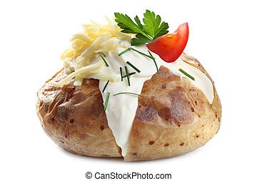 Baked Potato - Baked potato filled with sour cream, grated...