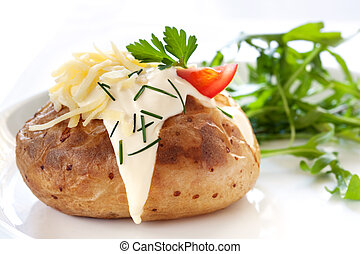 Baked Potato with Salad - Baked potato filled with sour...