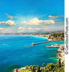 view of mediterranean resort, french riviera