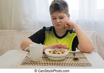 adolescent, Garçon, refuses, à, manger, flocons avoine,...