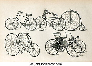 antique bicycles types from the beginning of 20th century....