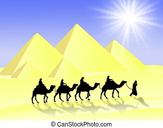 Camel travel - Travel in the desert with camels under the...