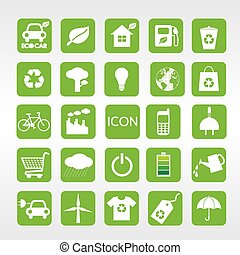 24 Ecology Vector Icons Set. - 24 Ecology vector icons...
