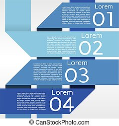 Abstract Blue Banners In Four Step.
