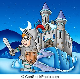 Castle and knight in winter landscape - color illustration.