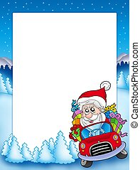 Frame with Santa Claus driving car - color illustration