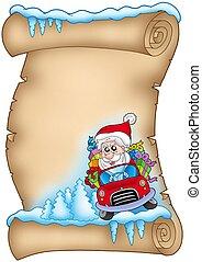 Winter parchment with Santa Claus 3 - color illustration.