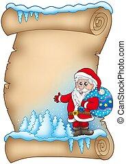 Winter parchment with Santa Claus 4 - color illustration.