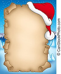 Winter parchment with Santas hat - color illustration.