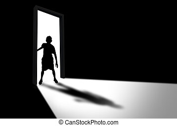 Kid Enters Dark Room Concept of Unknown and Fear -...