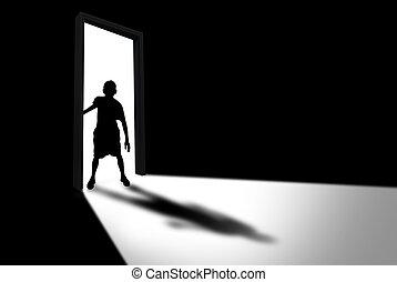 criança, entra, escuro, sala, conceito, de,...