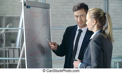 Business Activity Chart - Side view of coworkers dealing...