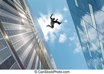Man Jumping Over the Roof - Man jumping over building roof...