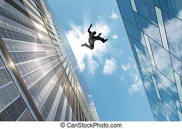 homem, Pular, sobre, a, telhado,