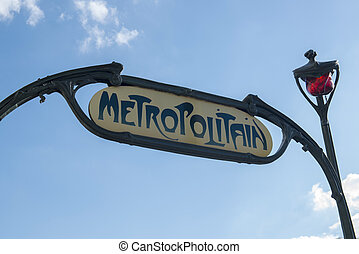 Metropolitain sign - Famous Art Nouveau sign for the...