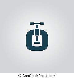 Bench vices Flat web icon, sign or button isolated on grey...