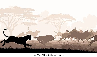 Hunting lions - EPS8 editable vector cutout illustration of...