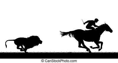Lion chasing racing horse