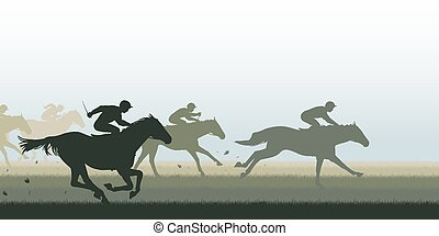 Horse racing - EPS8 editable vector cutout illustration of a...