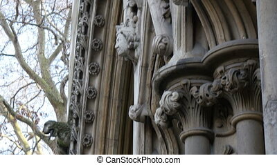 The sculpted walls of the Westminster Abbey church It is one...
