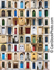 Doors of Malta - A photo collage of 64 colourful front doors...