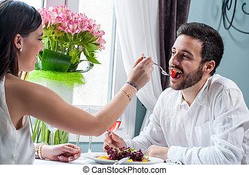 cena, coppia, tavola, intorno, gioco