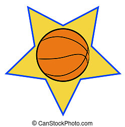 basketball illustration with yellow star background - sports...