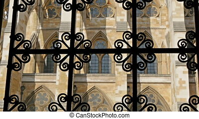 A peek of the Westminster Abbey from the gate Showing the...
