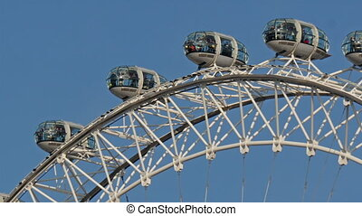 The view of the top of the ferris wheel called London Eye...