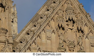 Closer look of the Palace of Westminsters wall with...