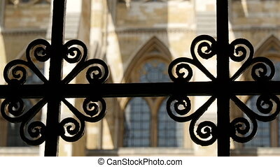 The gate of the Westminster Abbey church in London Showing...