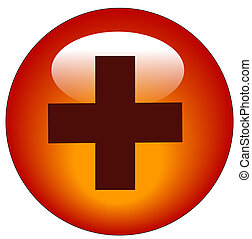 red first aid symbol web icon or button