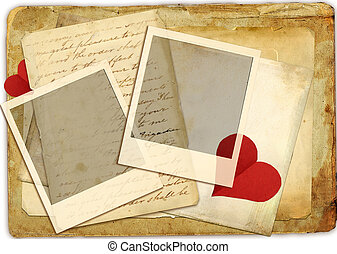 Grunge Background with Hearts and F - Artwork in Retro...
