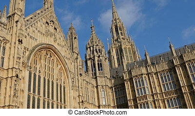 The view of the huge Palace of Westminster located in London...