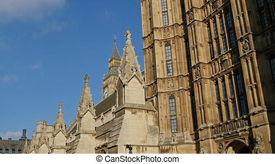 The big Palace of Westminster with the view of the Big ben a...