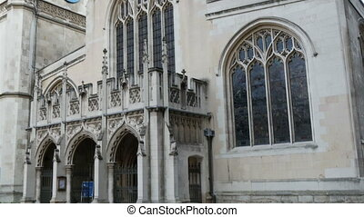 The white and old Westminter Abbey church in London It is...