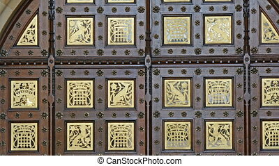 The beautiful ancient look door of the Palace of Westminster...