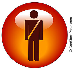 red seatbelt figure sign web button or icon