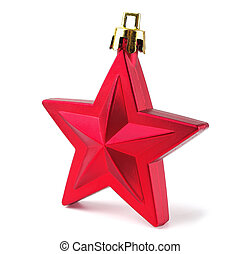 Christmas red star - Christmas toy red star on a white...