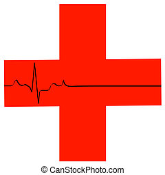 first aid symbol with flatline heart rhythm