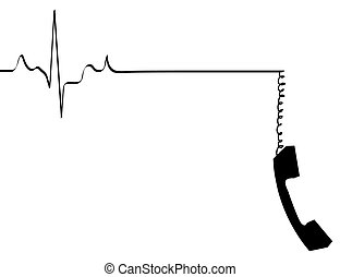 phone line rhythm going dead with dangling phone handset -
