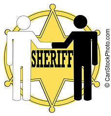 two stick figure people giving handshake with sheriff badge in background - police concept